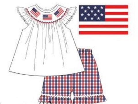 White Smocked Flags Swing Top with Red & Blue Plaid Ruffle Bloomers