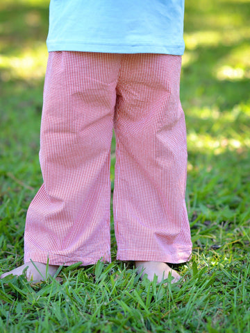 Boys Orange Gingham Pants