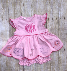 Girls Monogrammable Vintage Stitched Zoo Animals Bloomer Set