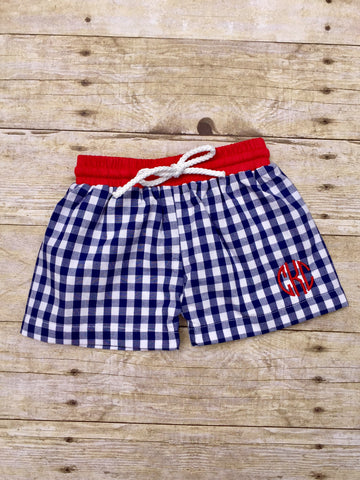 Navy Gingham Lined Boys Swimtrunks with Red Waistband