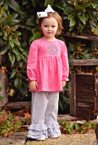 Girls Monogrammable Knit Pink Top & Gray Gingham Ruffle Pants Set