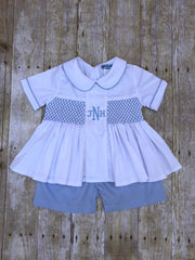 Boys White Pique Monogrammable Shorts Set with Blue Geo Smocking
