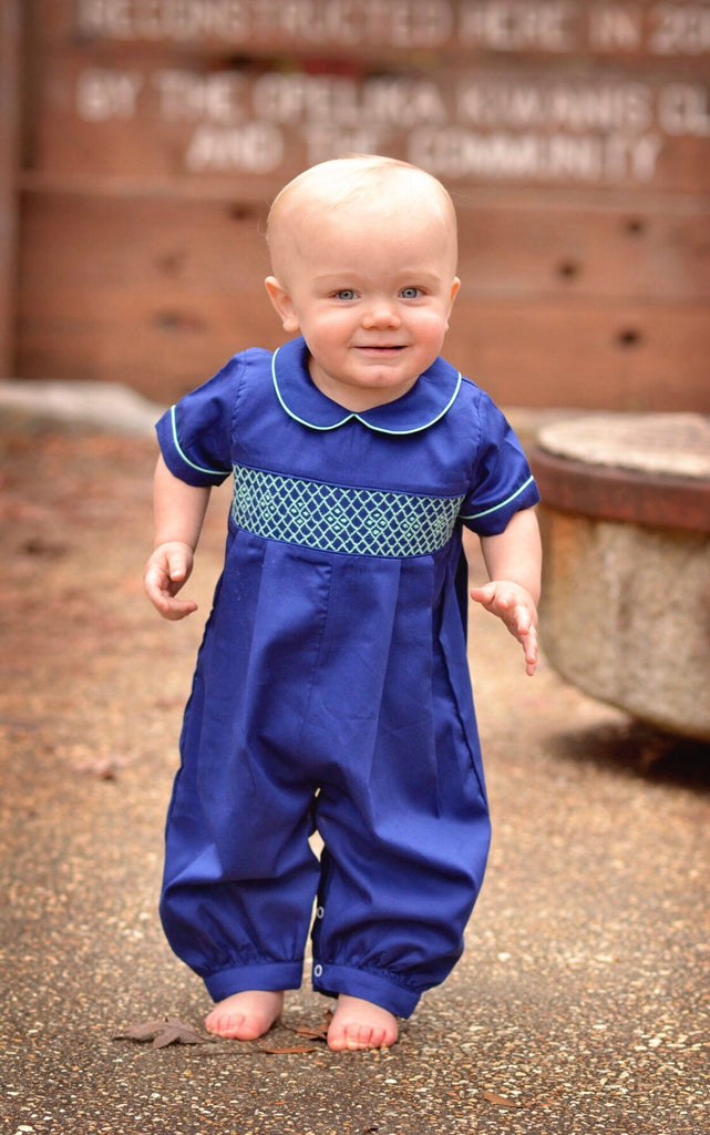 Navy Boys Long Collared Bubble w/ Mint Geo Smocking