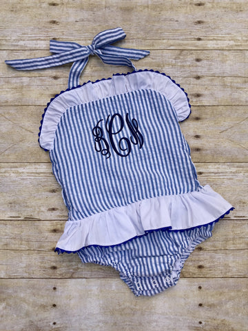 Navy Seersucker Monogrammable 1 Piece Swimsuit w/ White Skirt & Ruffle Trim