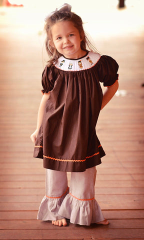 Brown Smocked Pilgrims & Indians Bishop Top & Brown Gingham Ruffle Pants
