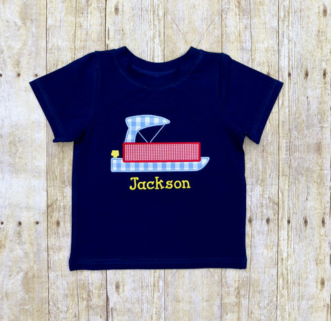 Monogrammable Navy Knit Pontoon Boat Applique Shirt