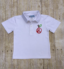 White Knit Apple Monogram Polo Shirt