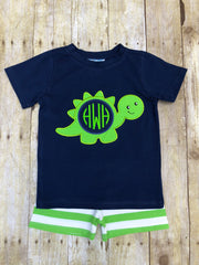 Boys Monogrammable Dinosaur Appliqued Shorts Set, boys shorts set, The Smocking Bug, The Smocking Bug
