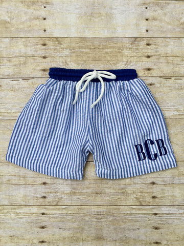 Navy Seersucker Monogrammable Swim Trunks w/ Navy Waistband