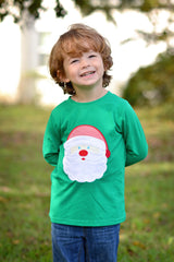 Green Appliqued Santa T-Shirt, Boys Applique Shirt, The Smocking Bug, The Smocking Bug