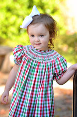 Christmas Plaid White Geometric Smocked Bishop Dress