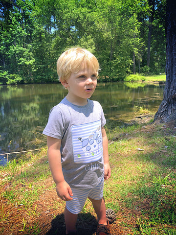 Boys Grey Applique Cow Patch T-Shirt with Blue Stripe Knit Shorts