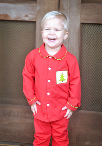 Boys Knit Red PJ's with Smocked Christmas Tree