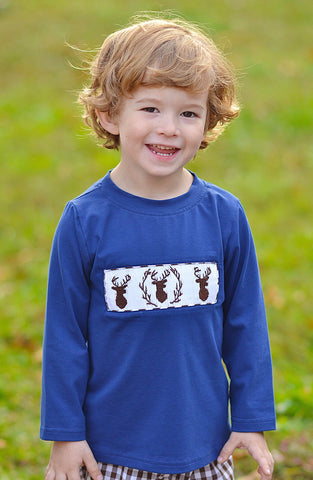 Navy Smocked Buck Shirt