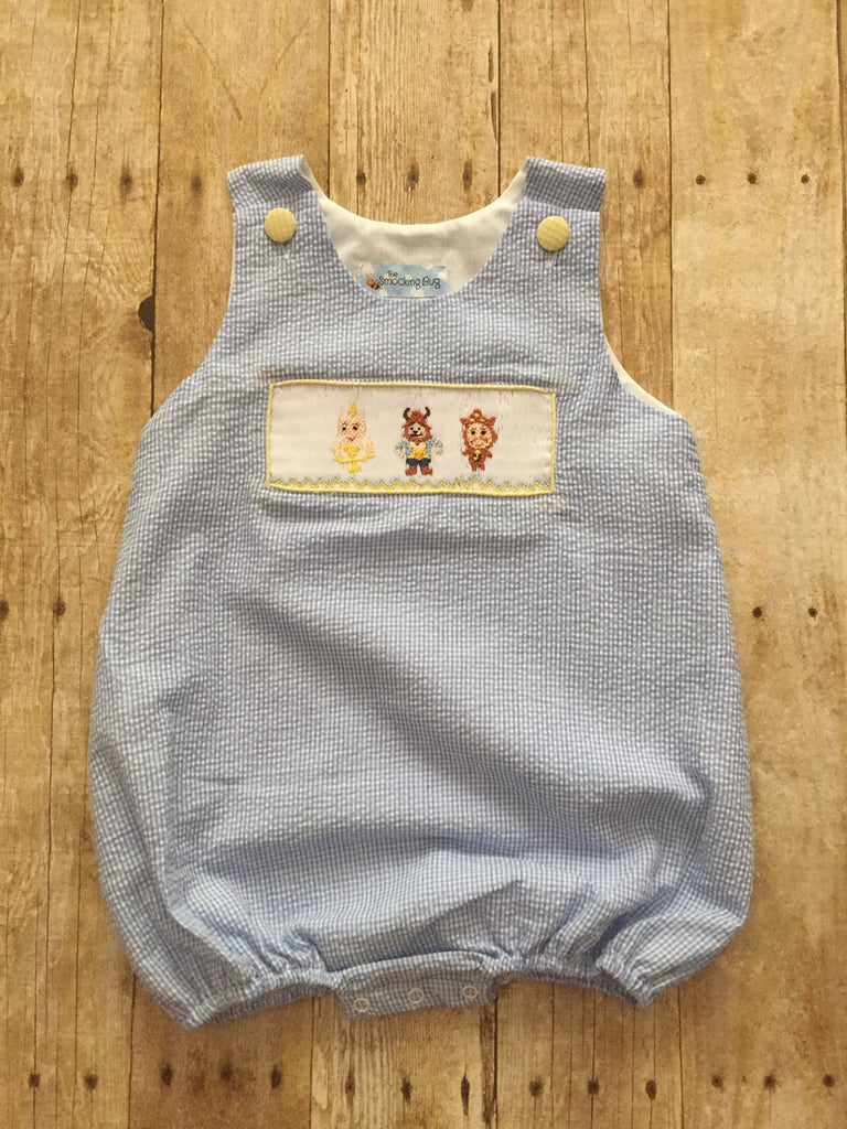 Blue Gingham Smocked Beast Sun Bubble