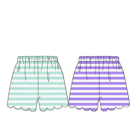 Reversible Mint & Lavender Stripe Knit Scallop Shorts