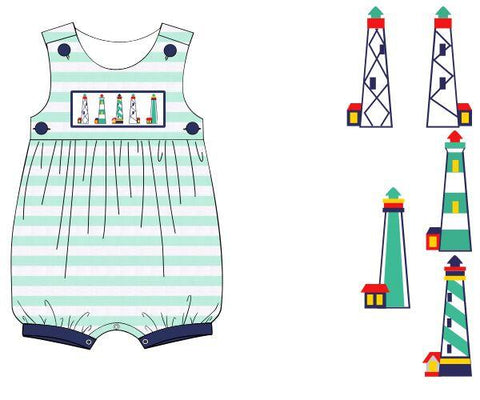 Boys Knit Mint Stripe Smocked Lighthouse Romper