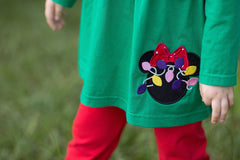 Girls Holiday Disney Applique Tunic Shirt & Red Leggings, Girls Tunic Tops & Leggings Set, The Smocking Bug, The Smocking Bug