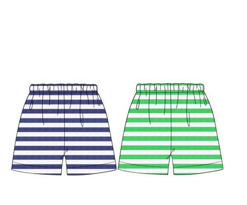 Reversible Knit Navy & Green Stripe Shorts