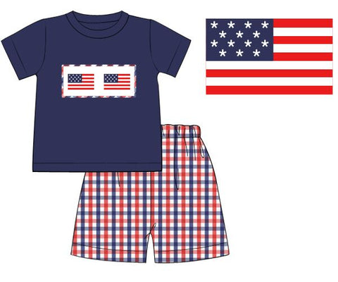 Navy Smocked Flags Shirt & Red & Blue Plaid Shorts