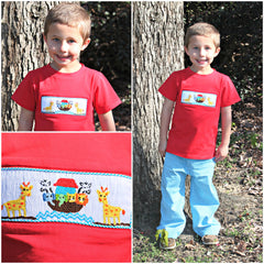 Boys Red Smocked Noah's Ark Shirt & Aqua Gingham Pants Set, Boys Smocked Pants Set, The Smocking Bug, The Smocking Bug