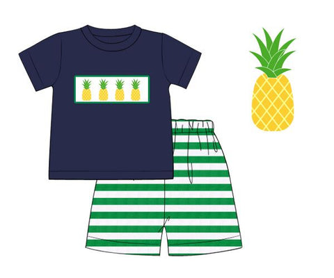 Boys Navy Smocked Pineapple Shirt with Green Striped Shorts