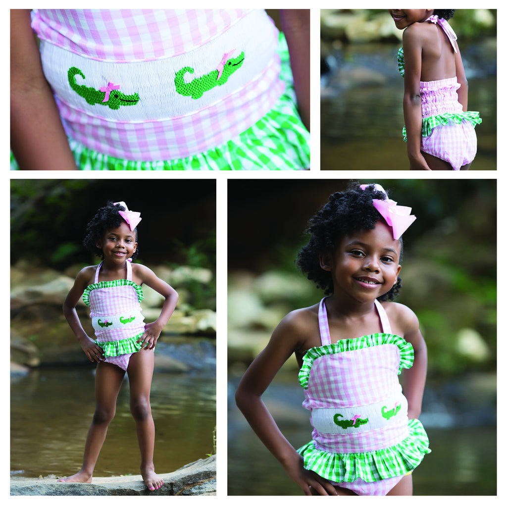 Pink and Green Gingham Smocked Alligator 1 Piece Swimsuit