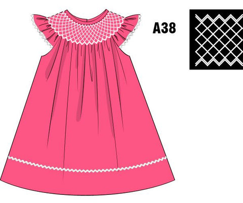 Hot Pink Geometric Smocked Dress