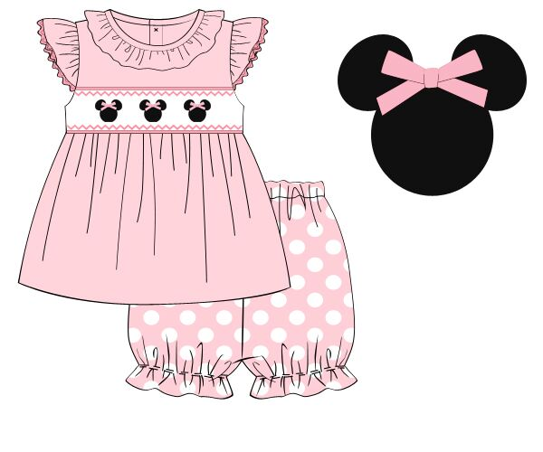 Baby Pink Knit Angel Sleeve Smocked Mouse Swing Top & Polka Dotted Ruffle Bloomers Set