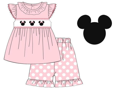 Baby Pink Knit Angel Sleeve Smocked Mouse Swing Top & Polka Dotted Ruffle Shorts Set