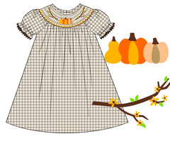 Khaki Gingham Smocked Pumpkin Vine Bishop Dress