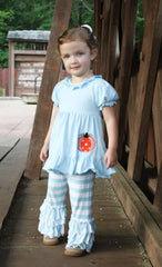Blue Knit Monogrammable Pumpkin Applique Girls Ruffle Pants Set