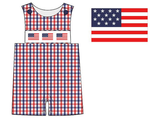 Red & Blue Plaid Smocked Flags Jon Jon