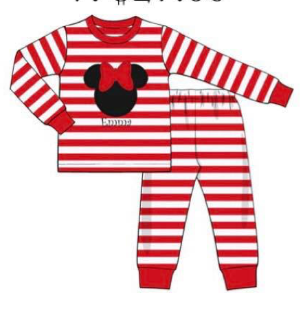 Girl's Red Striped Mouse Appliqué PJ's
