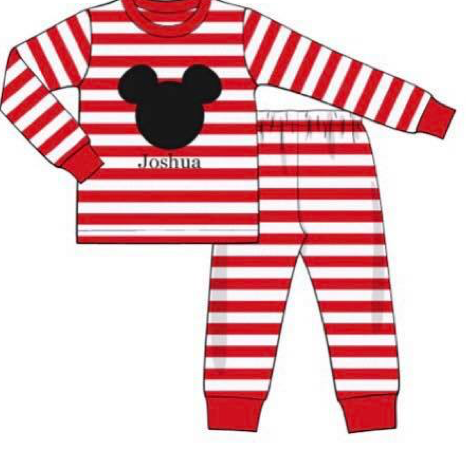 Red Striped Knit Mouse PJ's