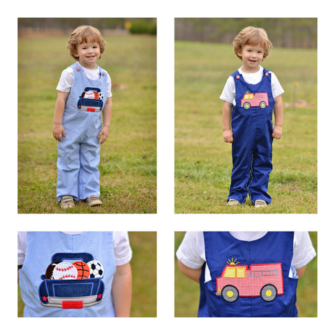 Reversible Blue Gingham Sports Balls in Truck & Navy Firetruck Applique Longall