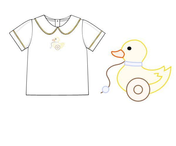 Rubber Duck Embroidered Collared Shirt