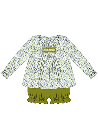 Olive and Floral Long Sleeved Bloomer Set