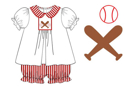 Smocked Baseball Peter Pan Swing Top & Ruffle Bloomer Set
