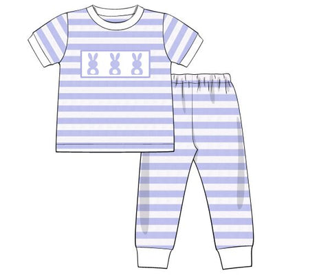 Boys Blue Striped Smocked Bunnies Knit Pajamas