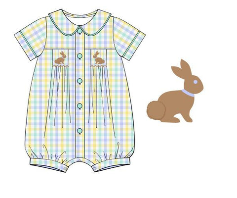 Button Down Smocked Bunnies Peter Pan Romper