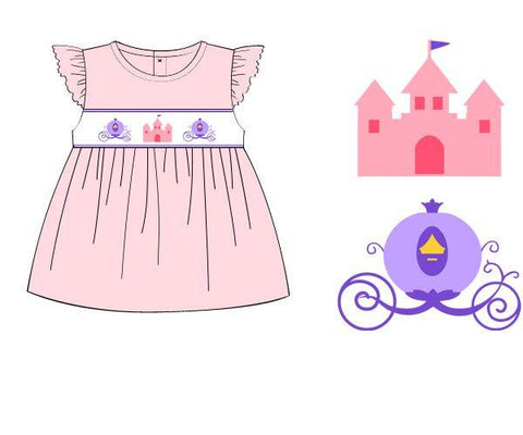 Pink Smocked Castle & Lavender Carriage Shirt