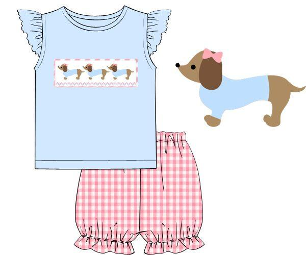 Girls Smocked Dachshund Angel Sleeve Bloomer Set