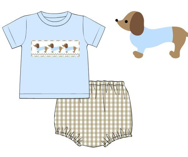 Boys Smocked Dachshund T-shirt Diaper Set, Boys Diaper Set, The Smocking Bug, The Smocking Bug