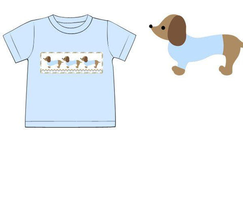 Baby Blue Knit Smocked Dachshund Shirt Only