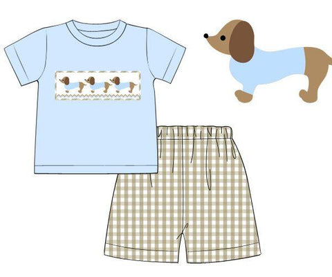 Boys Smocked Dachshund Baby Blue & Khaki Gingham Shorts Set