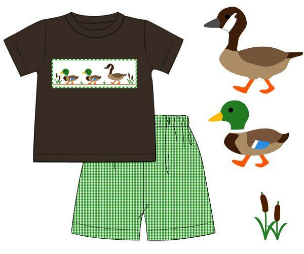 Smocked Duck Duck Goose Shorts Set