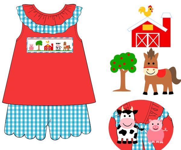 Girls Red Knit & Turquoise Gingham Farm Shorts Set