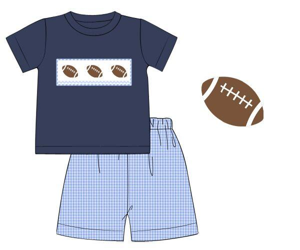 Navy Knit Smocked Football with Gingham Shorts Set