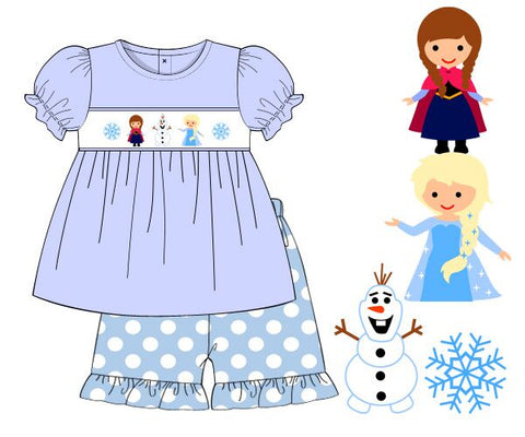 Girls Light Blue Smocked Frozen Top with Polka Dotted Shorts